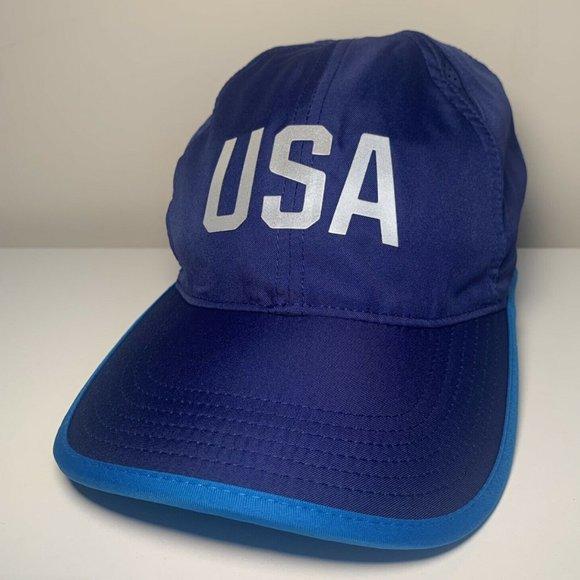 Nike USA Featherlight Dri-Fit Blue Unisex Tennis Running Hat Cap 812501 443 NEW